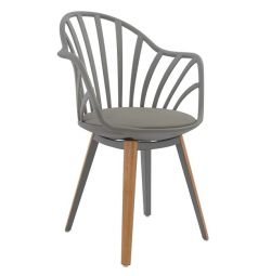 ARMCHAIR HM8049.10 ANAIS GRAY WITH WOOD