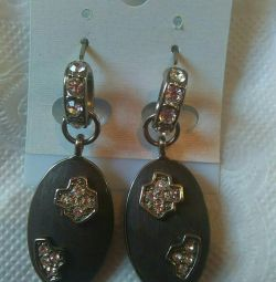Silver earrings made of sea stone