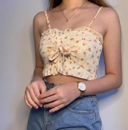 Off white creamy floral ribbon top (free NM sg)
