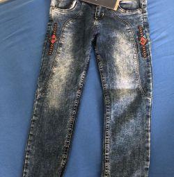 Jeans 128 înălțime, în stare excelentă