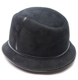 Panama hat men's fur winter (black)