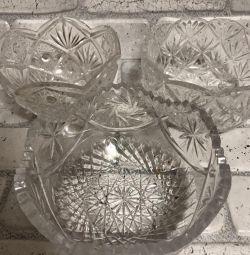 Набір кришталевого посуду, діаметр 14-16 см