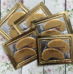 Collagen patches for eyes with bio gold