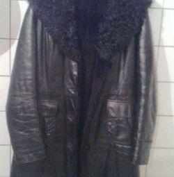 Double-hooded leather jacket 46-48