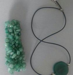 🍀 Комплект браслет + колье из натур. камня