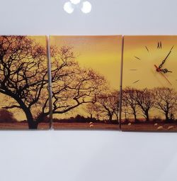 Tuval üzerine modüler resim + saat