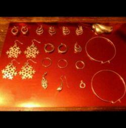 Chain, earrings, brooch, silver pendant