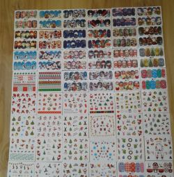 New Year and Christmas stickers for nails