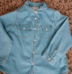 Джинсовая рубашка и джинсы на девочку рост 104