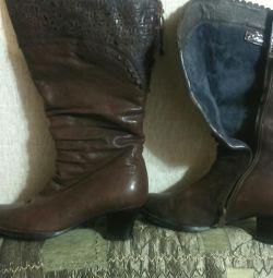 Cizme p38, piele, blana naturala, gamba lata