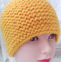 A yellow cap. Handmade