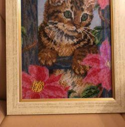 Картина бисером «Кот»