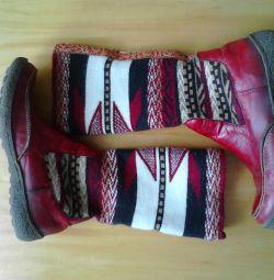 Μπότες φθινοπώρου, δερμάτινο κατώτατο σημείο και πλεκτή κορυφή