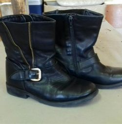Boots leather for children, girls, size 35-36