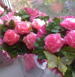 Buchet de trandafiri din săpun