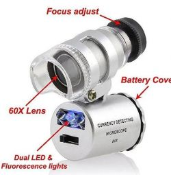 Mini microscope magnifying glass 60X with backlight
