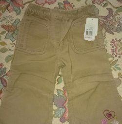 Pantaloni noi Corduroy pentru fata râului 86. copil