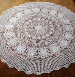 New handmade crocheted tablecloth