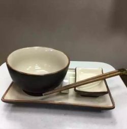 A set of dishes for sushi. New. Exchange.