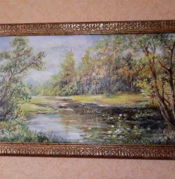 Ζωγραφική τοπία λίμνη με κρίνα ..