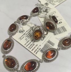 Silver amber set