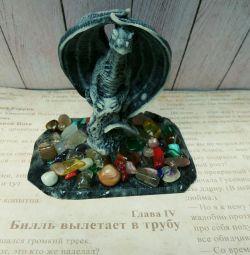 Статуэтка из камня волк, лиса, дракон, лягушка, де