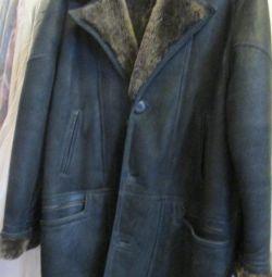 Natural sheepskin coat for men