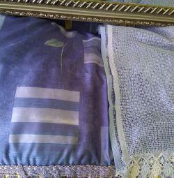 Curtains + tulle + cornice.