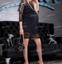 Μαύρο φόρεμα μητρότητας δαντέλα