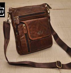 Коричневая сумка планшет