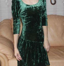 Elbise yeşil kadife İtalyan markası