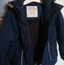 Jacket with a hood, blue 98 size