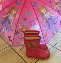 Sıcak lastik çizme ve şemsiye