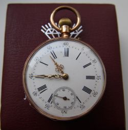 18K gold pocket watch mechanic Switzerland