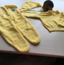 Yellow knitted three piece suit