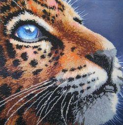 "Imagine ""Leopard"" brodat cu margele"