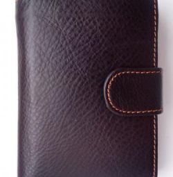 Men's leather wallet made of genuine leather