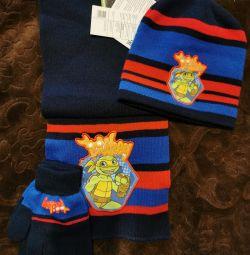 Set of hat, scarf, gloves for a boy