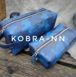 Un set de saci de voiaj realizat manual din piele naturală