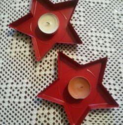 2 νέα κεριά (μεταλλικά αστέρια)