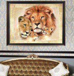 Diamond μωσαϊκό οικογένεια των λιονταριών