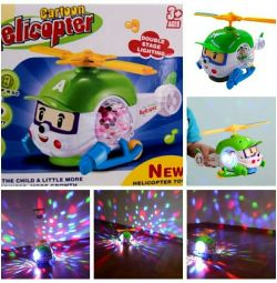 Musical helicopter with a bright projector