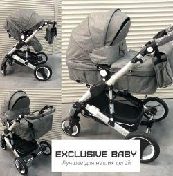 Новая теплая детская коляска 2в1 серая