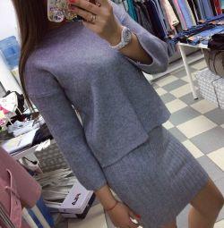 Комплект : платье + кофта