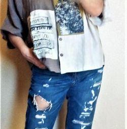 Лен рубашка с карманоми рисунком , дизайнерская