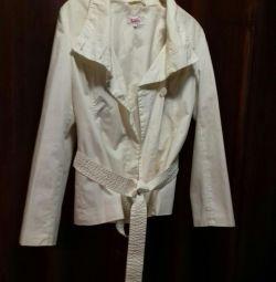 The raincoat is female white