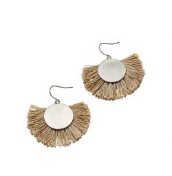 Earrings with a round brush pendant