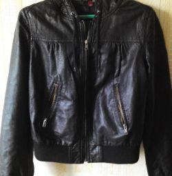 Куртка женская с капюшоном кожаная H&M