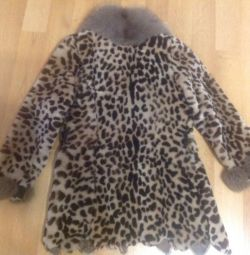 Mouton fur coat with fox fur