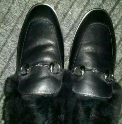 Ботинки,лоферы- кожа женские зимние 36 р-р